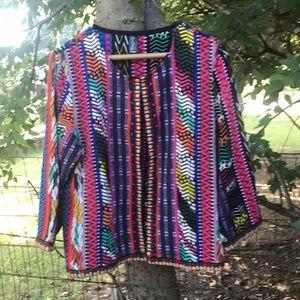 XL- Sacred thread's hippy tribal print crop jacket